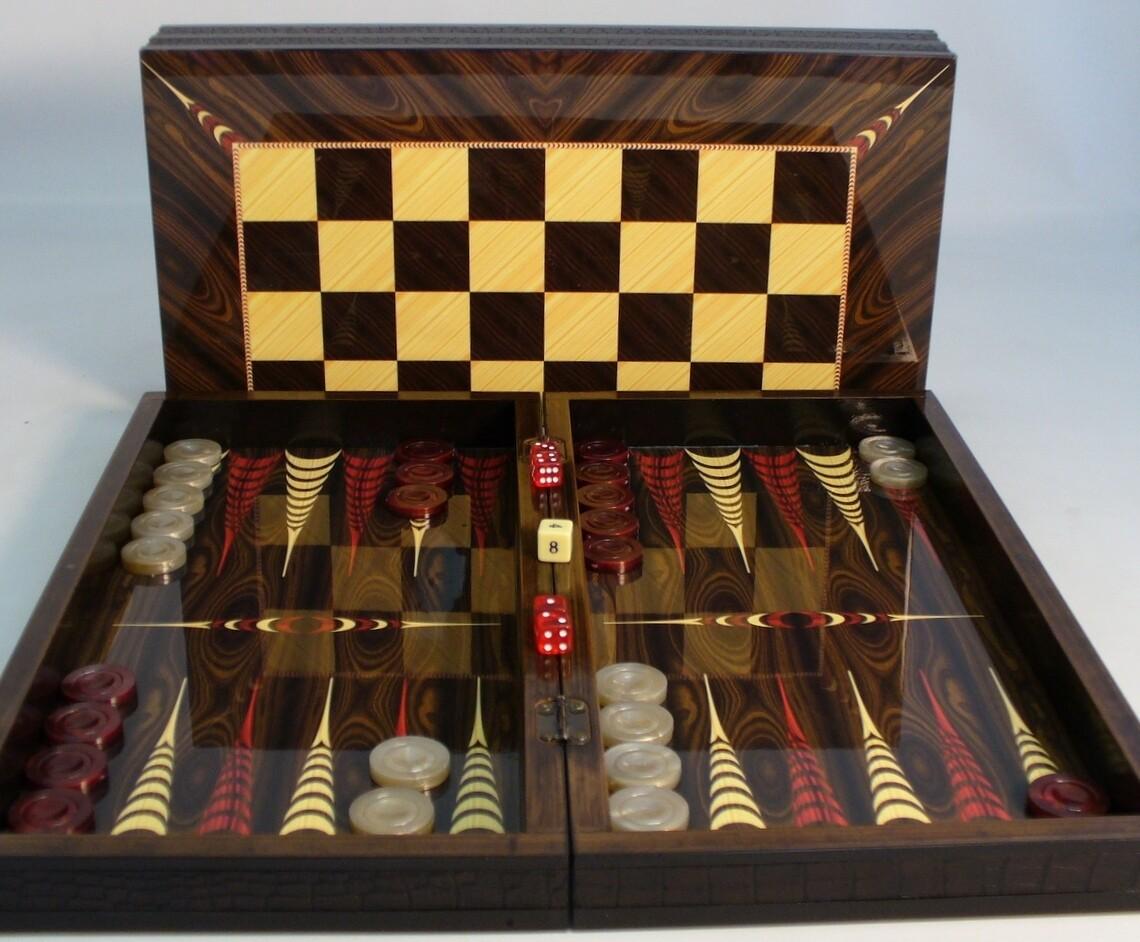 """Yenigun Tavla Backgammon: 16.5"""" Folding Wood"""