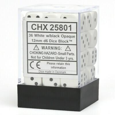12mm Opaque White/Black (36 ct.)