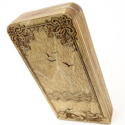 Engraved Travel Cribbage Board: 2 Track Mermaid: Oak