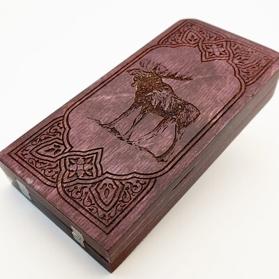 Engraved Travel Cribbage Board: 2 Track Moose: Cherry