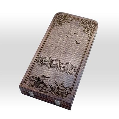 Engraved Travel Cribbage Board: 2 Track Mermaid: Mahogany