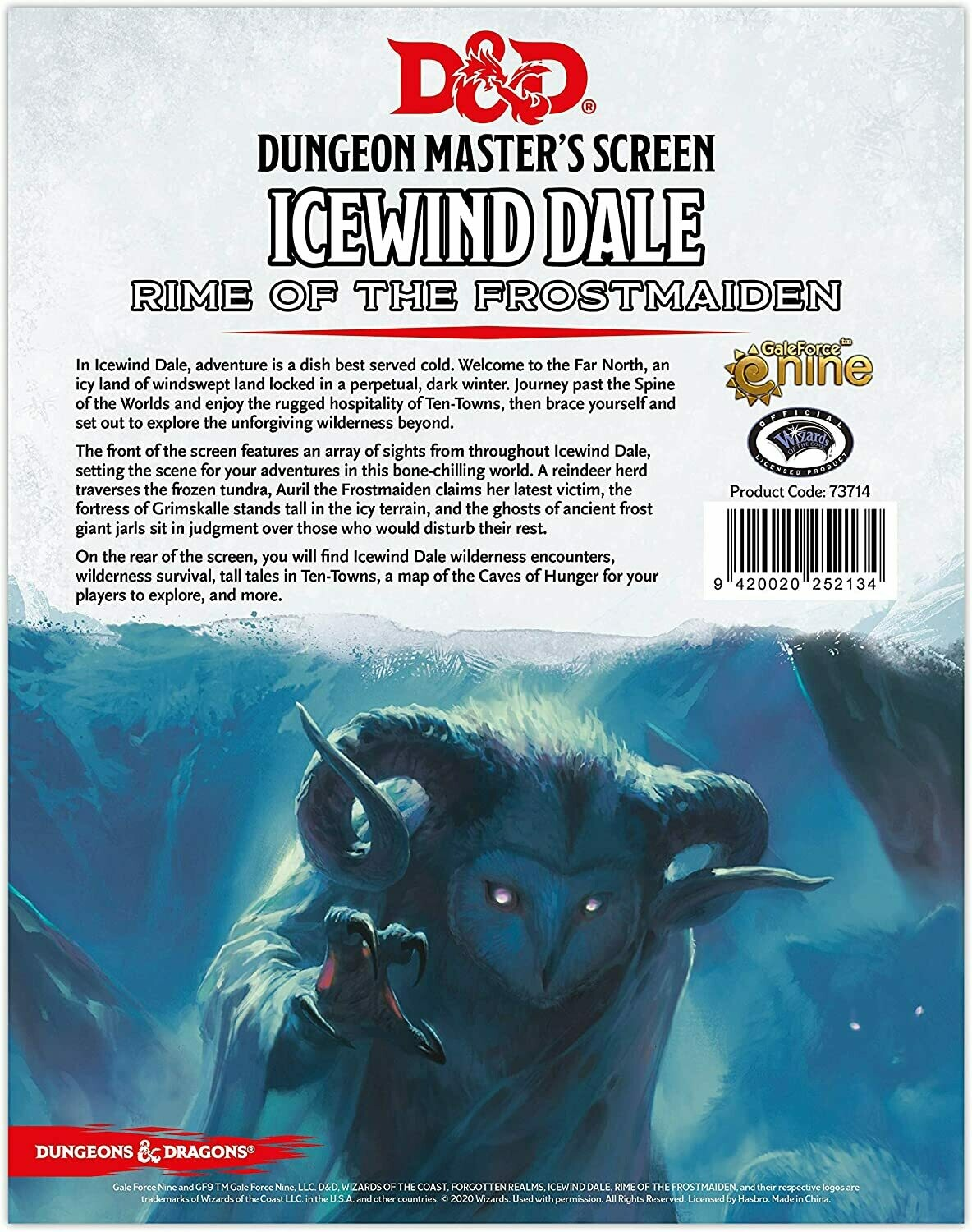 D&D 5e: DM Screen: Icewind Dale Rime of the Frostmaiden