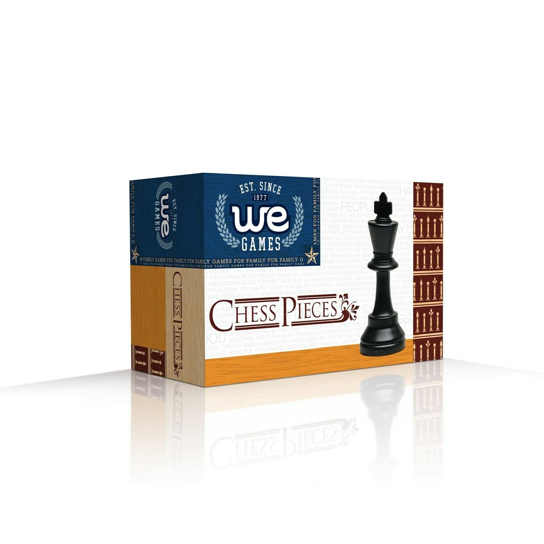 """Chessmen 3.75"""" Black & Cream Plastic"""