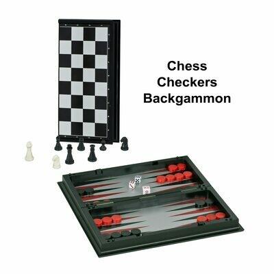 Chess, Checkers, Backgammon Magnetic Folding Set 10