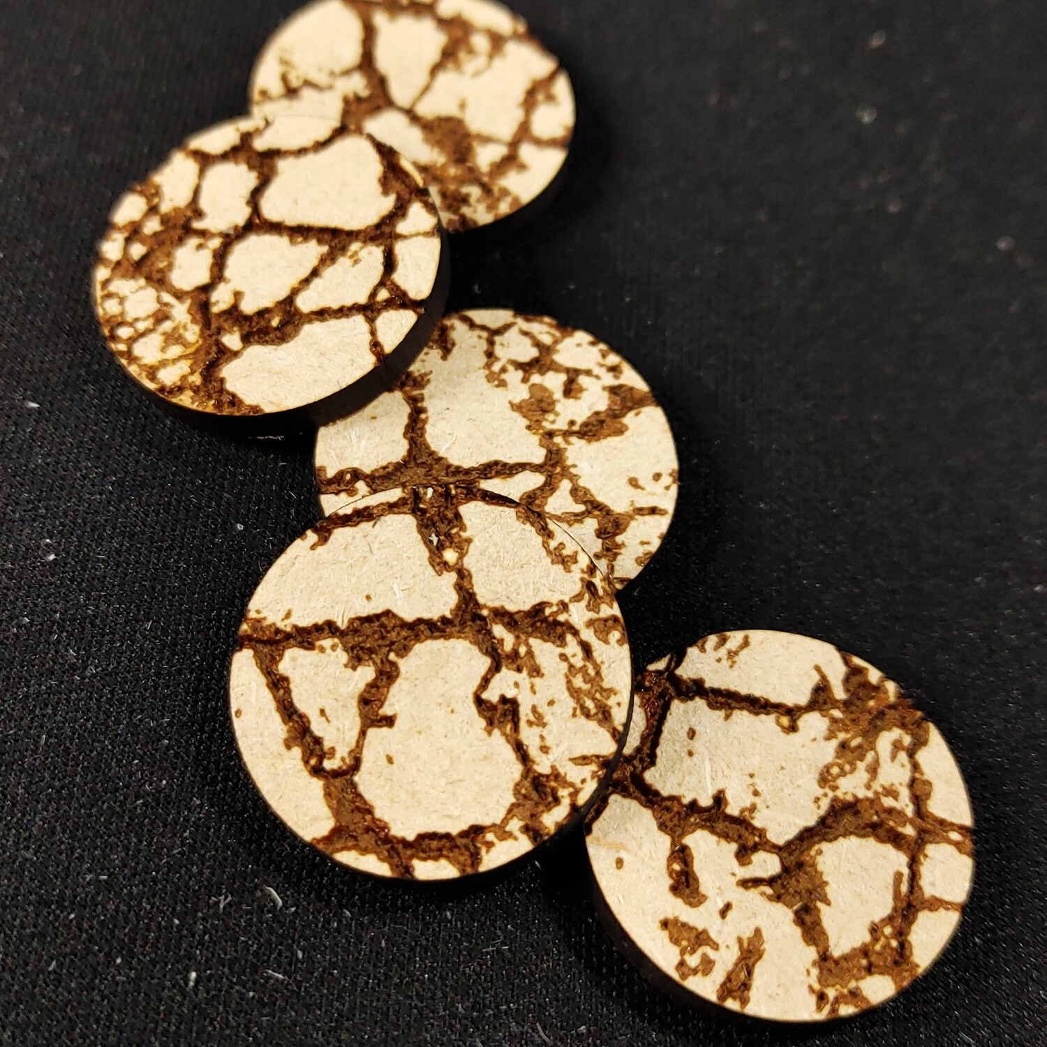 """Laser Cut Bases: Cracked Earth 1"""" (x5)"""