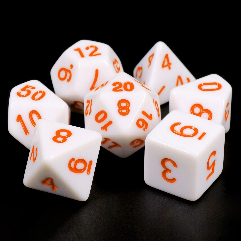 7 Die Set: Opaque White with Orange