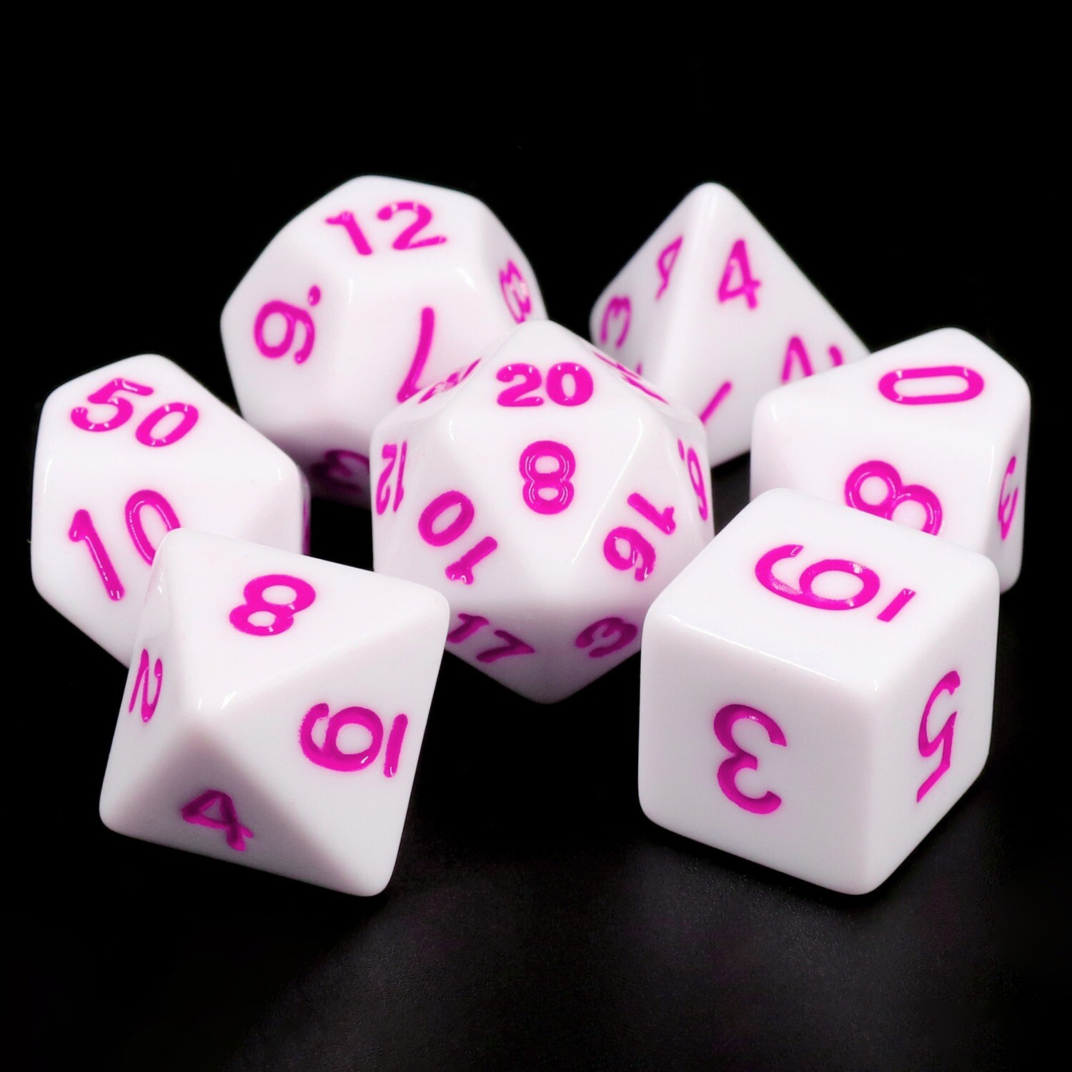 7 Die Set: Opaque White with Purple