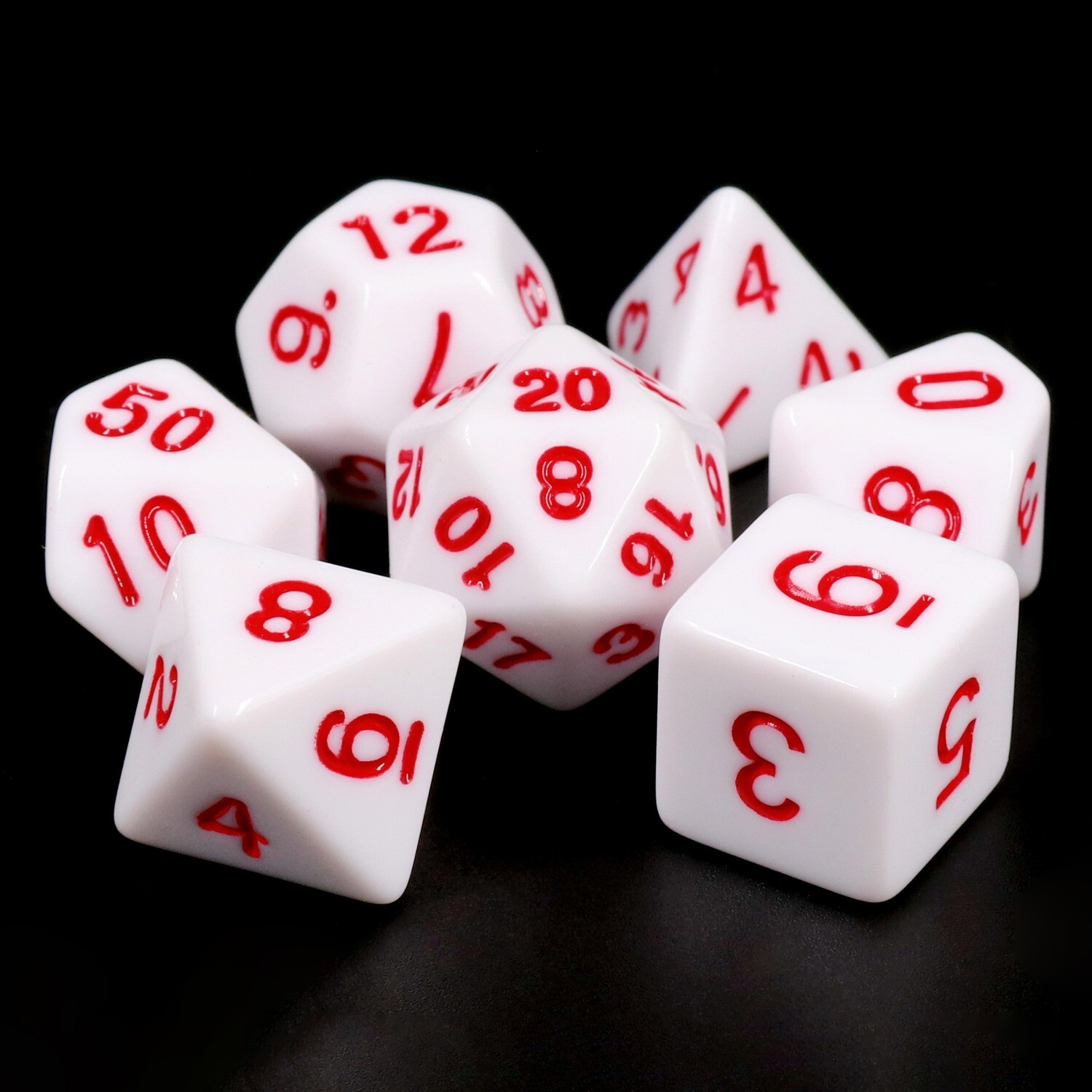 7 Die Set: Opaque White with Red