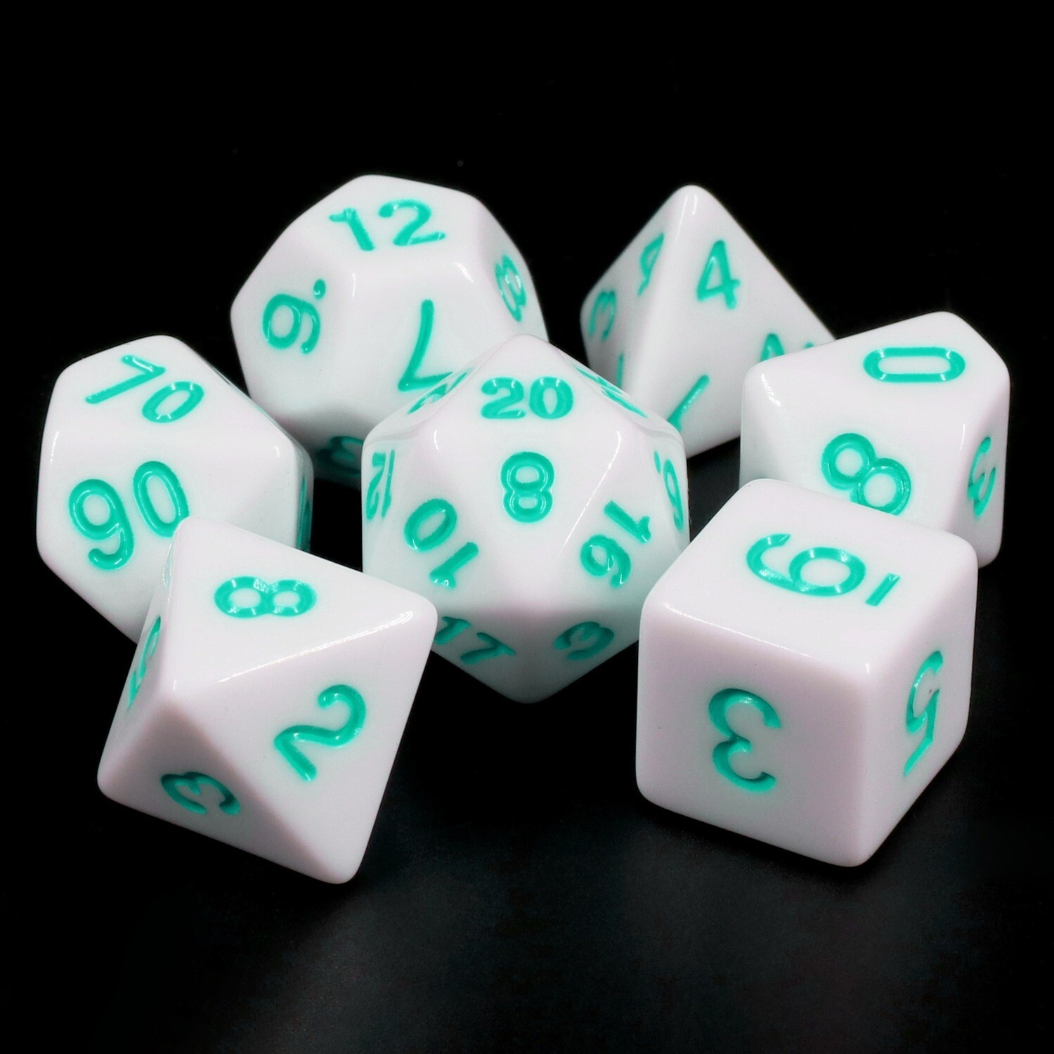 7 Die Set: Opaque White with Teal