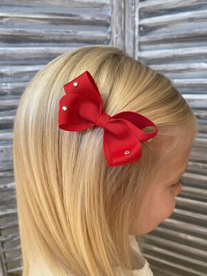 Dubbele strik met swarovskisteentjes op clip - rood