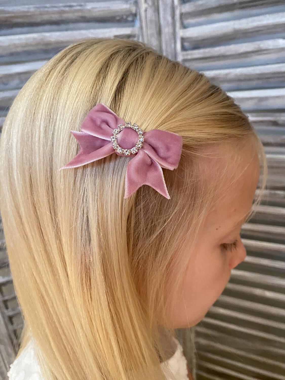 Suède strik op clip - roze