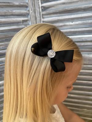 Dubbele strik met steen op clip - zwart