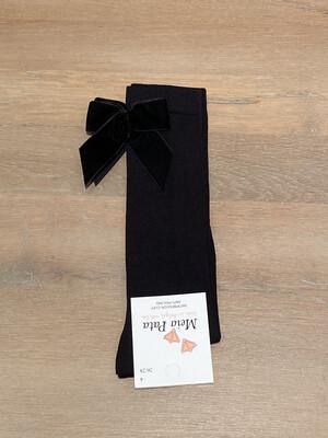 Meia Pata Kniekousen met velvet strik achteraan- zwart