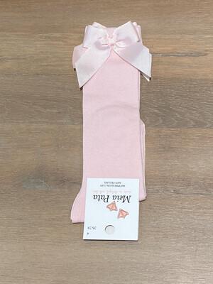 Meia Pata Kniekousen met strikje zijkant - baby roze