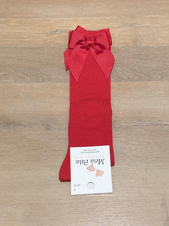 Meia Pata Kniekousen met strikje zijkant - rood