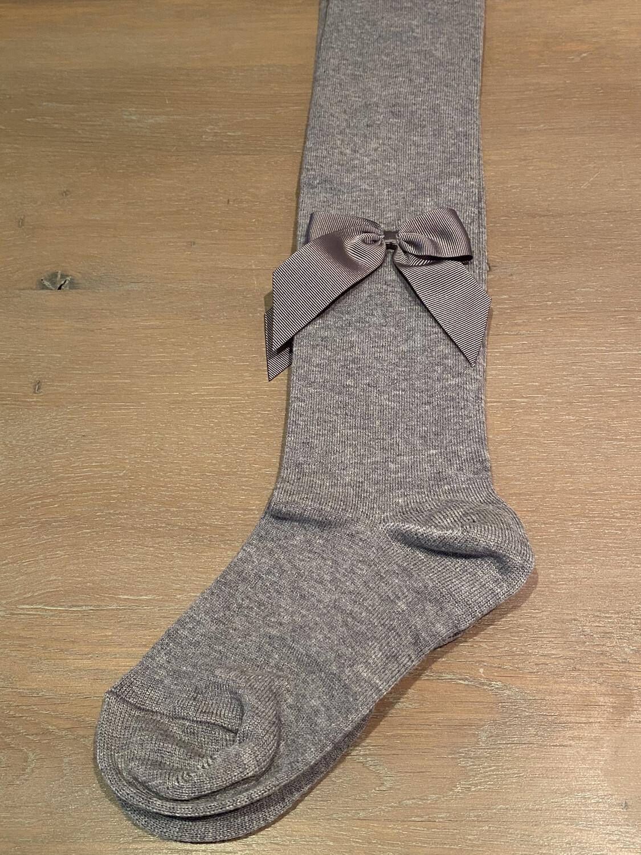 Meia Pata Kousenbroek met grote strik opzij - grijs