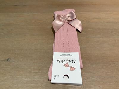 Meia Pata Kniekousen met gaatjes en satijnen strik Baby Roze