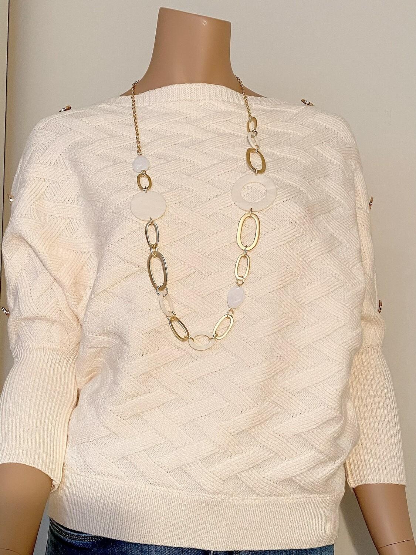 Lange ketting wit/goud
