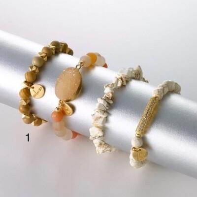 Armband camel met 'gouden' accentjes