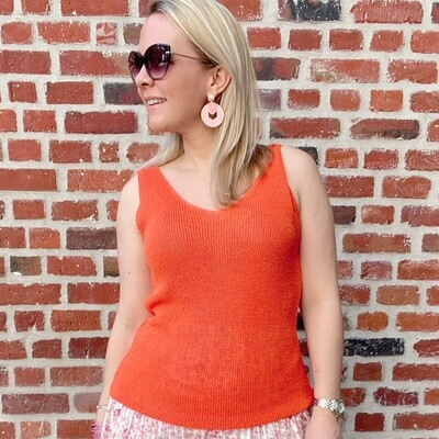 Knitted top oranje/rood