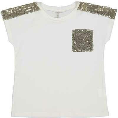 T-shirt met gouden paillettes