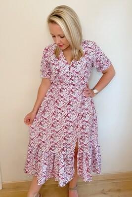 Pink midi daisy dress with split