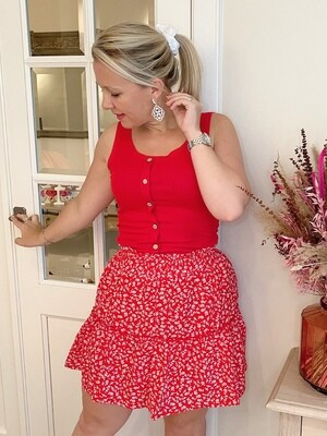 Red daisy skirt