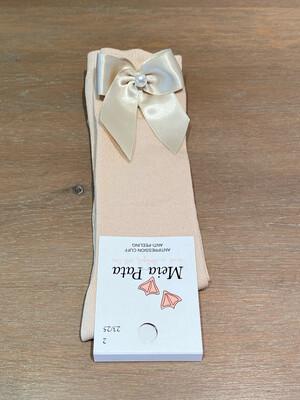 Meia Pata Kniekousen champagne met strik en parel
