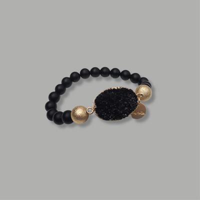 Zwart Met Bergkristal Armband