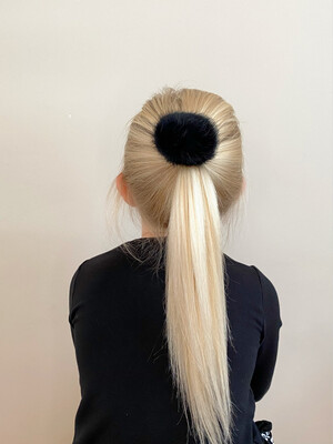 Meia Pata Haarelastiekje met grote pompon - zwart