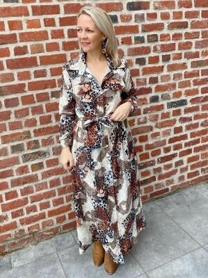 Printed leopard chemise dress