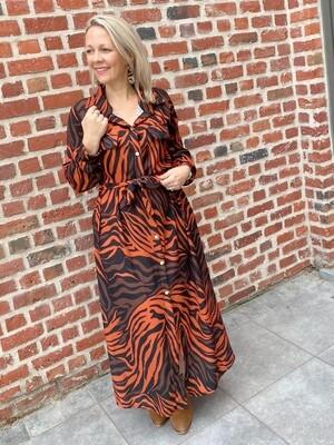 Printed safari dress roest