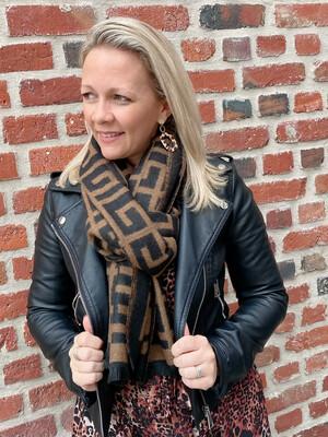Trendy Sjaal camel/zwart