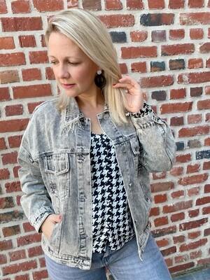 Oversized glitter jeans jacket Grey