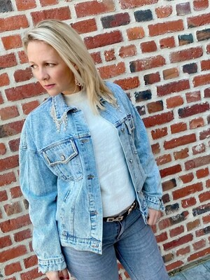 Oversized glitter jeans jacket Blue