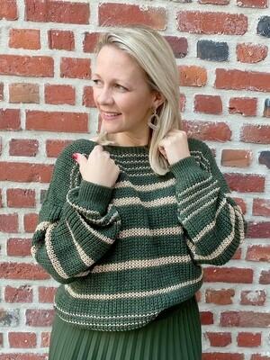 Trendy Green/gold striped truitje