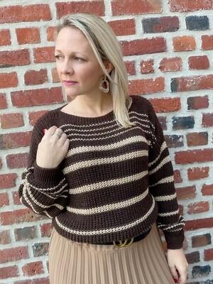 Trendy Brown /gold striped truitje