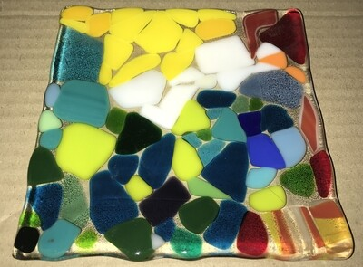 "8"" Square Fused Glass Plate"