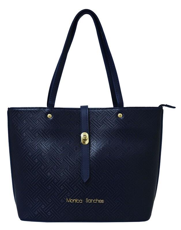 Shopping bag-Monica Sanches Rafia Marinho (Lengte 40 cm Hoogte 28 cm)