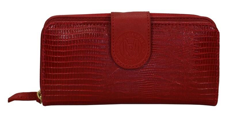 Protefeuille-Monica Sanches Lagarto Red (Lengte 20 cm Hoogte 10 cm)