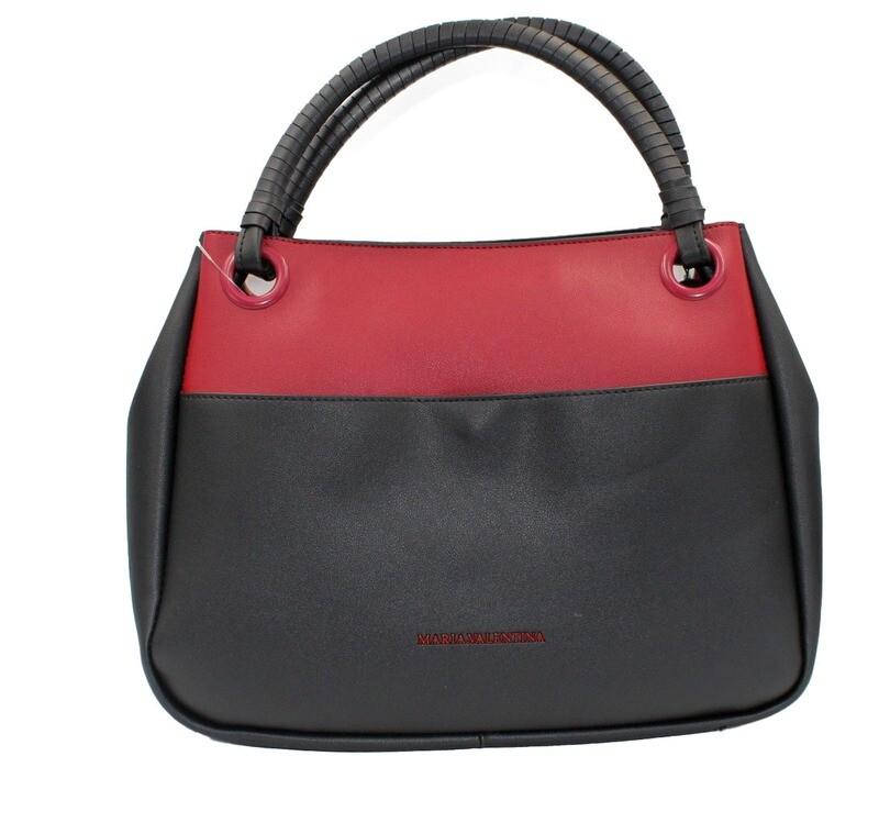 Handtas-Maria Valentina Hobo Color Black/Bordo (Lengte 34 cm Hoogte 26 cm)