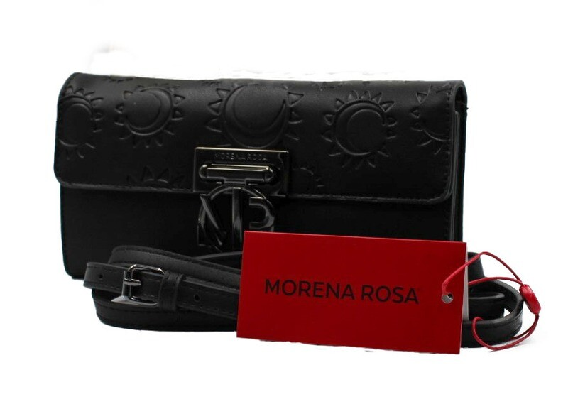 Schoudertas-Morena Rosa Carteira Texturizada Black (Lengte 22 cm Hoogte 12 cm)
