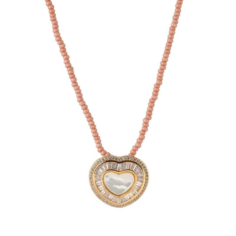 Halsketting hart rose natuurlijke parels