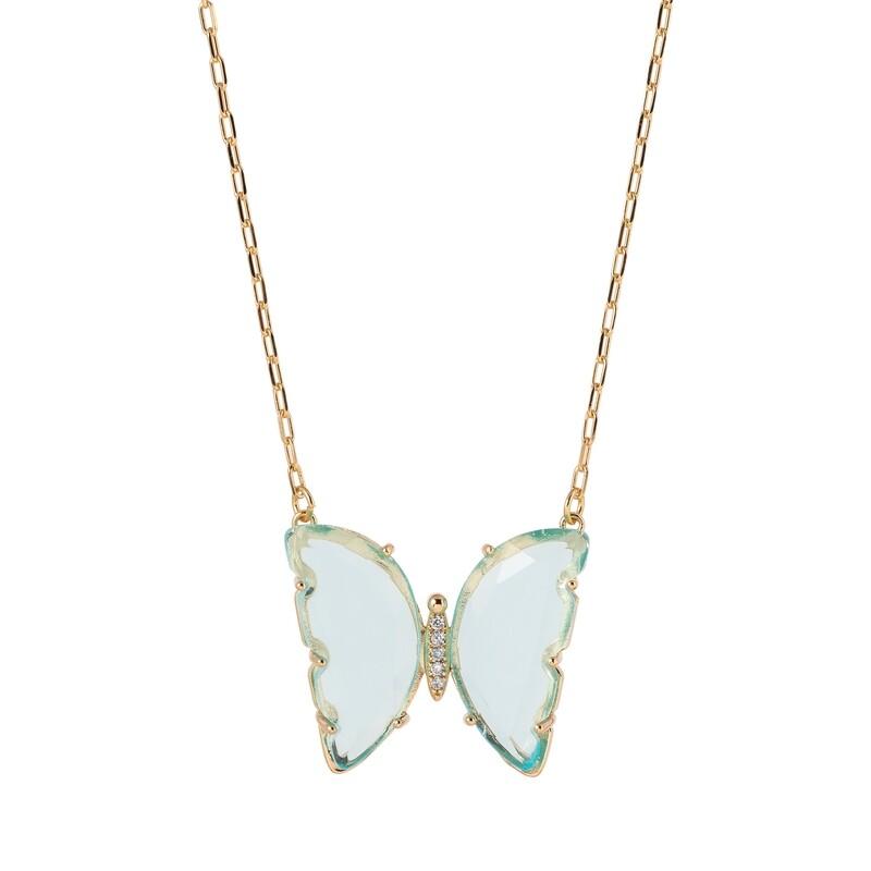Halsketting verguld 18K goud vlinder