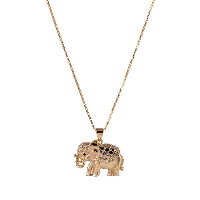 Halsketting olifant bezet met cristal en verguld in 18K goud
