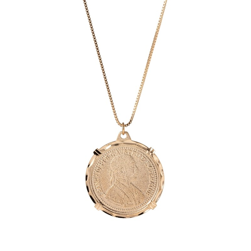 Halsketting medaillon verguld 18K goud