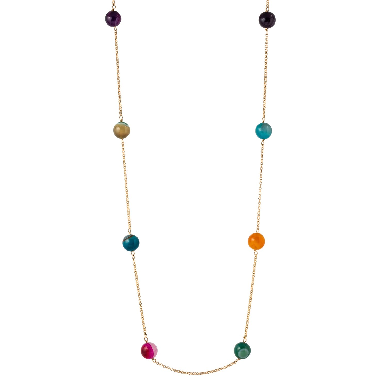 Halsketting lang gekleurde natuurlijke parels