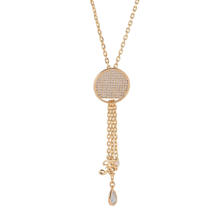 Halsketting verguld 18K goud met mandala medaillon