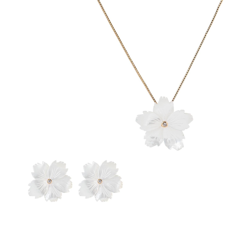 Set madri perola zirconia flor grande brinco