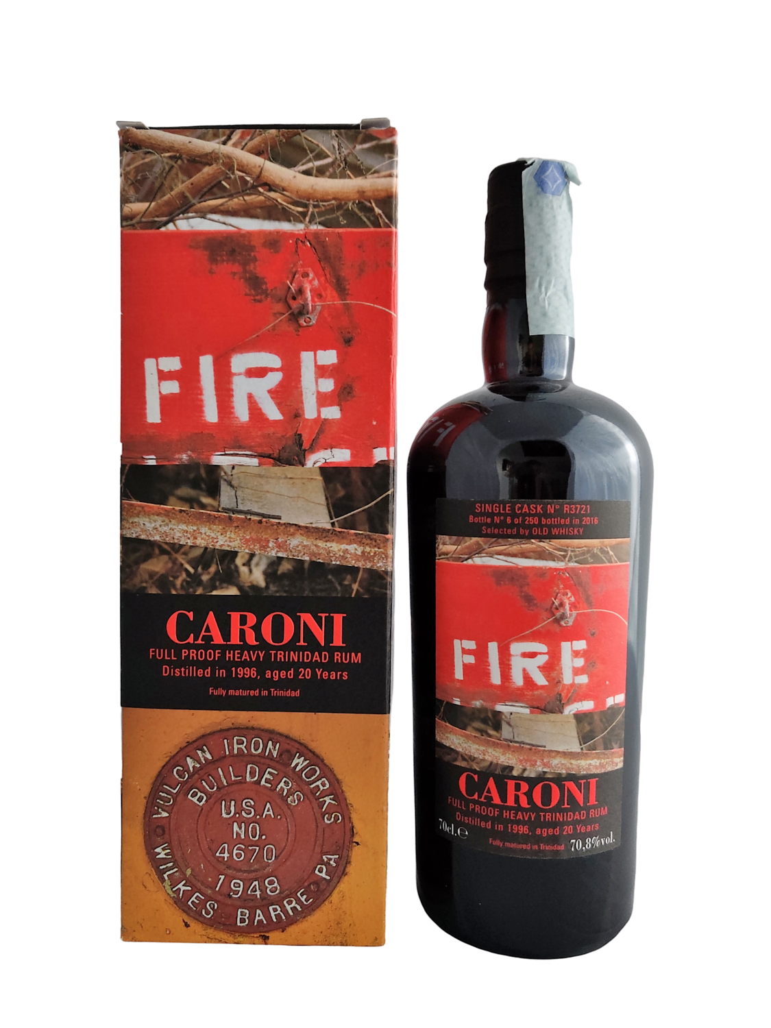 Caroni  - 20y Vintage 1996 Single Cask R3721 Fire Velier for Old whisky - 70 cl - 70.8%